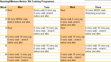 Beginners 10k Training Programme