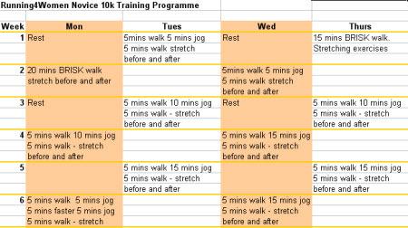 Beginners 10k Training Programme